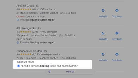 """Google search results showing local heating repair companies. Highlighted is a listing with a review snippet that reads: """"I had a furnace/heating issue and called Martin."""""""